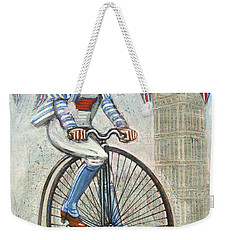 Tweed Run Lady In Blue On Penny Farthing  Weekender Tote Bag