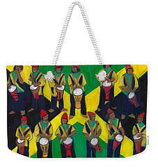 Weekender Tote Bag featuring the painting Twelve Drummers Drumming by Denise Weaver Ross