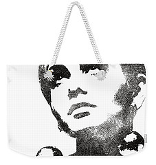 Twiggy Bw Portrait Weekender Tote Bag by Mihaela Pater