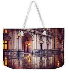 Weekender Tote Bag featuring the photograph Twilight At Hamburg Town Hall Courtyard  by Carol Japp