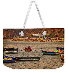 Weekender Tote Bag featuring the photograph Twilight At The Beach, Miraflores, Peru by Mary Machare