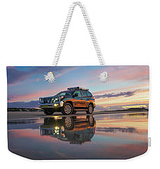 Twilight Beach Reflections And 4wd Car Weekender Tote Bag