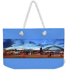 Weekender Tote Bag featuring the photograph Twilight By The Bridge By Kaye Menner by Kaye Menner