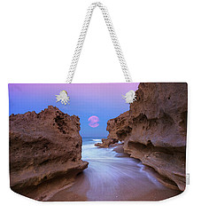 Twilight Moon Rising Over Hutchinson Island Beach Rocks Weekender Tote Bag