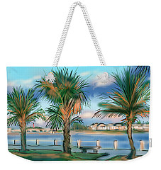 Weekender Tote Bag featuring the digital art Twilight On Saw Fish Bay by Jean Pacheco Ravinski