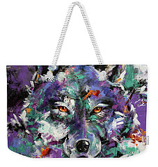 Twilight Purple Wolf Weekender Tote Bag