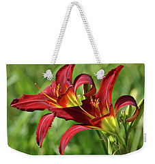 Weekender Tote Bag featuring the photograph Twin Daylilies by Sandy Keeton