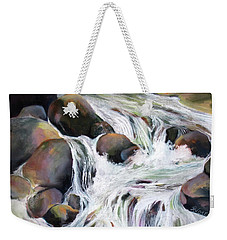 Weekender Tote Bag featuring the painting Twin Falls by Rae Andrews