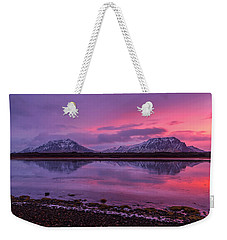 Weekender Tote Bag featuring the photograph Twin Mountain Sunrise by Pradeep Raja Prints