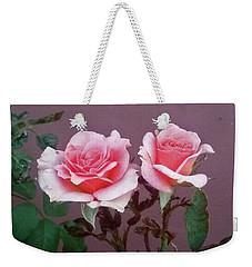 Twin Pink Roses Weekender Tote Bag