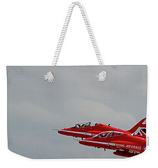 Weekender Tote Bag featuring the photograph Twin Red Arrows Taking Off - Teesside Airshow 2016 by Scott Lyons