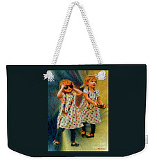 Twin Sunglasses Models Weekender Tote Bag