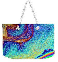 Weekender Tote Bag featuring the photograph Twisted Soap Film by Jean Noren
