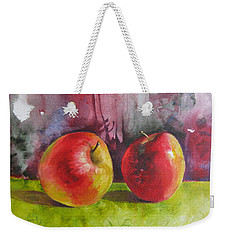 Weekender Tote Bag featuring the painting Two Apples by Elena Oleniuc