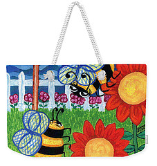 Two Bees With Red Flowers Weekender Tote Bag by Genevieve Esson