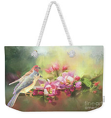 Two Birds Admiring The View Weekender Tote Bag by Janette Boyd