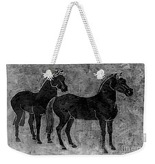 Weekender Tote Bag featuring the drawing Two Black Chinese Horses by Nareeta Martin