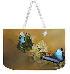 Two Blue Morpho Butterflies On White Spring Flowers Weekender Tote Bag by Janette Boyd