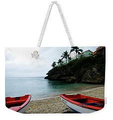 Weekender Tote Bag featuring the photograph Two Boats, Island Of Curacao by Kurt Van Wagner