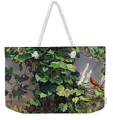 Two Cardinals On The Vine Tree Weekender Tote Bag by Svitozar Nenyuk