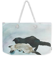 Two Cats In A Tub Weekender Tote Bag by Anne Gifford
