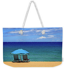 Weekender Tote Bag featuring the photograph Two Chairs And An Umbrella by James Eddy