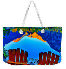 Two Chairs In Paradise Weekender Tote Bag by Scott Mahon