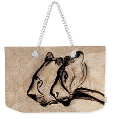 Two Chauvet Cave Lions - Clear Version Weekender Tote Bag