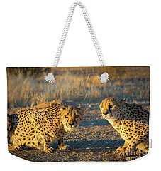 Two Cheetahs Weekender Tote Bag by Inge Johnsson