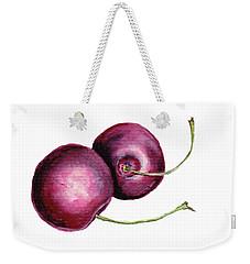 Weekender Tote Bag featuring the painting Two Cherries by Heidi Kriel
