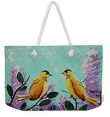 Two Chickadees Standing On Branches Weekender Tote Bag