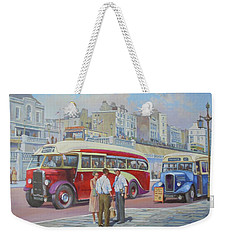 Two Coaches On Brighton Seafront. Weekender Tote Bag by Mike Jeffries