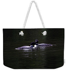 Two Common Loons At Sunset Weekender Tote Bag
