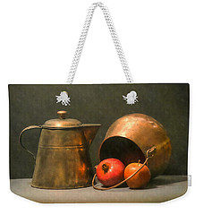 Weekender Tote Bag featuring the photograph Two Copper Pots Pomegranate And An Apple by Frank Wilson