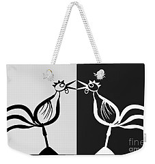 Two Crowing Roosters 3 Weekender Tote Bag by Sarah Loft