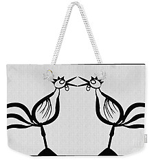 Two Crowing Roosters  Weekender Tote Bag by Sarah Loft