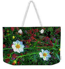 Weekender Tote Bag featuring the photograph Two Daisies by Roger Bester