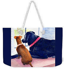 Two Dogs Looking Out A Window Weekender Tote Bag