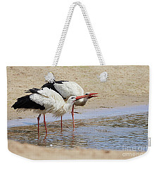 Two Drinking White Storks Weekender Tote Bag