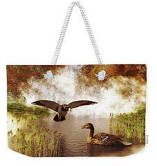 Two Ducks In A Pond Weekender Tote Bag