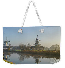 Two Dutch Windmills In The Fog Weekender Tote Bag