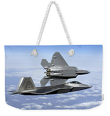 Two F-22a Raptors In Flight Weekender Tote Bag