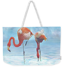 Two Flamingos Searching For Food Weekender Tote Bag by Janette Boyd