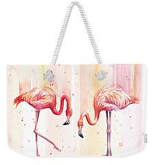 Two Flamingos Watercolor Weekender Tote Bag