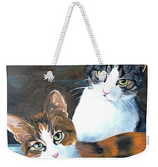 Weekender Tote Bag featuring the painting Two Friends by Diane Daigle