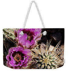 Weekender Tote Bag featuring the photograph Two Fucshia Blossoms  by Phyllis Denton