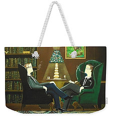 Two Gentlemen Sitting In Wingback Chairs At Private Club Weekender Tote Bag