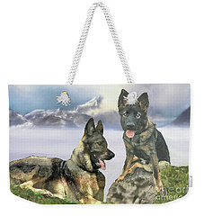 Weekender Tote Bag featuring the photograph Two German Shepherds by Janette Boyd and John Noyes