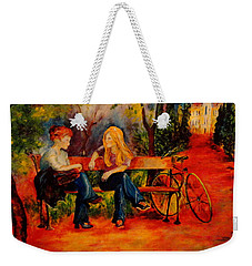 Two Girls With A Byke Weekender Tote Bag