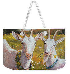 Two Goats Of Summer Weekender Tote Bag by Tracie Thompson